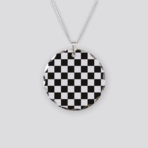 Big Black/White Checkerboard Necklace Circle Charm