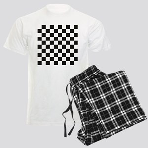 Big Black/White Checkerboard  Men's Light Pajamas