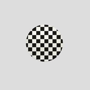 Big Black/White Checkerboard Checkered Mini Button