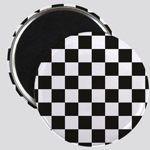 Big Black/White Checkerboard Checkered Flag Magnet