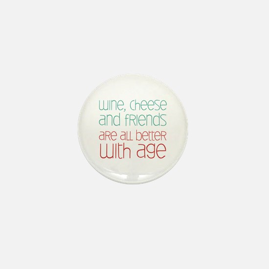 Wine Cheese Friends Mini Button