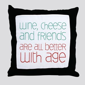 Wine Cheese Friends Throw Pillow