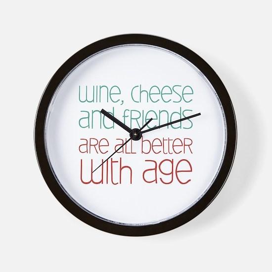 Wine Cheese Friends Wall Clock
