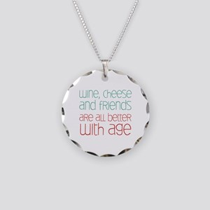 Wine Cheese Friends Necklace Circle Charm