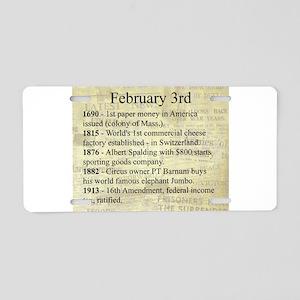 February 3rd Aluminum License Plate