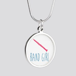 Band Girl Clarinet Silver Round Necklace