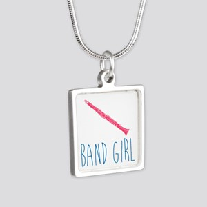 Band Girl Clarinet Silver Square Necklace