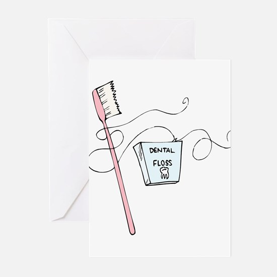 Toothbrush And Floss Dentist Greeting Cards (Packa