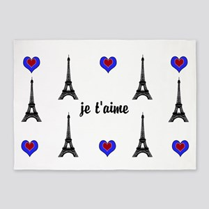 Stylish French I LOVE PARIS 5'x7'Area Rug