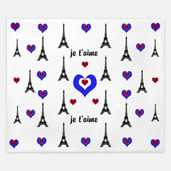 Stylish French I LOVE PARIS King Duvet