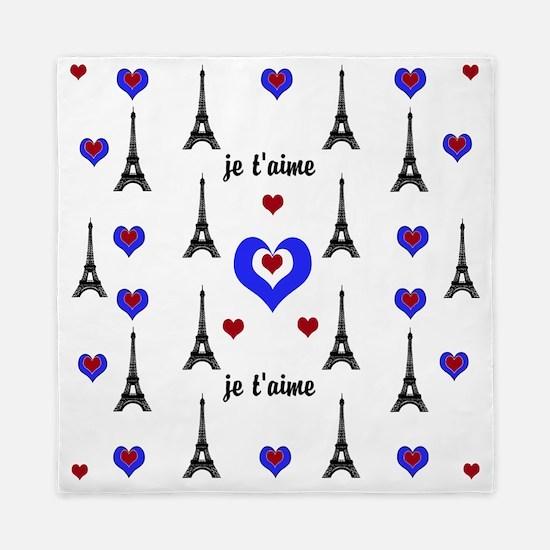 Stylish French I LOVE PARIS Queen Duvet
