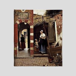 Pieter de Hooch - Courtyard of a Hou Throw Blanket