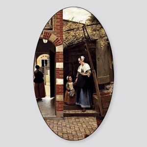 Pieter de Hooch - Courtyard of a Ho Sticker (Oval)