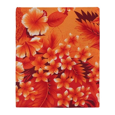 Orange Hibiscus Throw Blanket