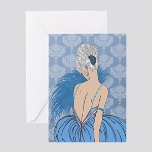 Art Deco Lady with Damask - BIANCA:  Greeting Card