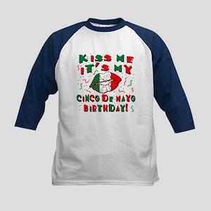 KISS ME Cinco de Mayo Birthda Kids Baseball Jersey
