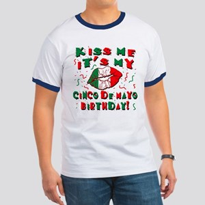 KISS ME Cinco de Mayo Birthday Ringer T