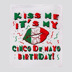 KISS ME Cinco de Mayo Birthday Throw Blanket
