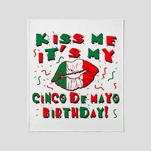 KISS ME Cinco de Mayo Birthday Throw Blanket