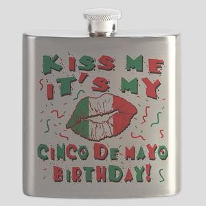KISS ME Cinco de Mayo Birthday Flask