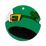 Leprechaun Hat with Shamrock Ornament (Round)