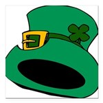Leprechaun Hat with Shamrock Square Car Magnet 3