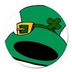 Leprechaun Hat with Shamrock Round Car Magnet