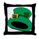 Leprechaun Hat with Shamrock Throw Pillow