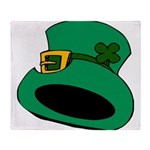 Leprechaun Hat with Shamrock Throw Blanket