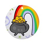 Rainbow with Crock of Gold Ornament (Round)