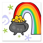 Rainbow with Crock of Gold Square Car Magnet 3