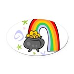 Rainbow with Crock of Gold Oval Car Magnet