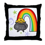 Rainbow with Crock of Gold Throw Pillow
