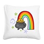 Rainbow with Crock of Gold Square Canvas Pillow