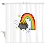 Rainbow with Crock of Gold Shower Curtain