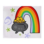 Rainbow with Crock of Gold Throw Blanket