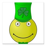 Smiley with Shamrock Square Car Magnet 3