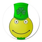 Smiley with Shamrock Round Car Magnet