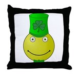 Smiley with Shamrock Throw Pillow