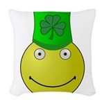 Smiley with Shamrock Woven Throw Pillow