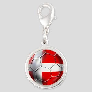 Danish Football Silver Round Charm