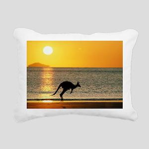 Australian Kangaroo on B Rectangular Canvas Pillow