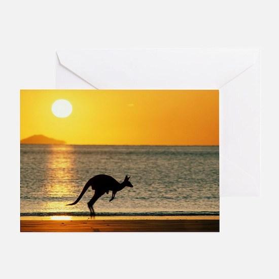 Australian Kangaroo on Beach Greeting Card