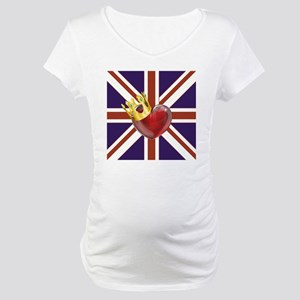 UNION JACK WITH HEART AND CROWN Maternity T-Shirt
