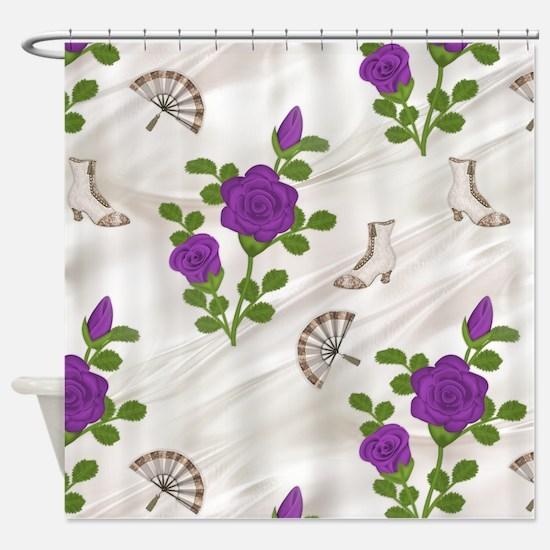 Vintage Violet Roses Shower Curtain