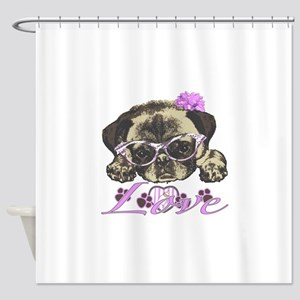 Pug in Pink. For any one that loves Shower Curtain