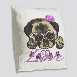 Pug in Pink. For any one that Burlap Throw Pillow