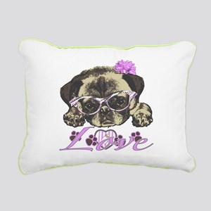 Pug in Pink. For any one Rectangular Canvas Pillow