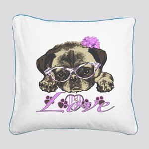 Pug in Pink. For any one that Square Canvas Pillow