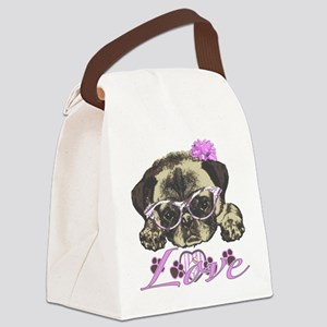 Pug in Pink. For any one that lov Canvas Lunch Bag